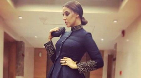 Neha Dhupia stuns in a midnight blue Shantanu and Nikhil anarkali at Women Achievers' Awards