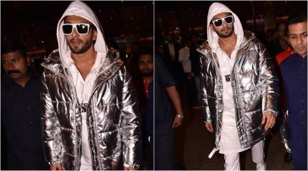 Ranveer Sngh quirky jacket at airport.
