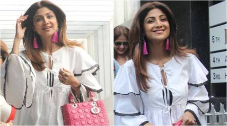 Shilpa Shetty spices up her monochrome outfit with hot pink accessories; see pics