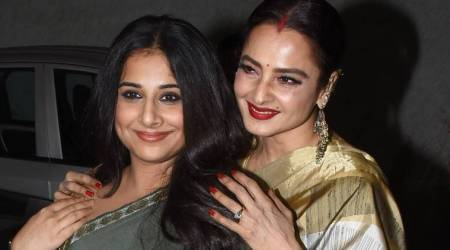 Vidya Balan and Rekha have a 'golden' sari moment at the screening of Tumhari Sulu; see pics