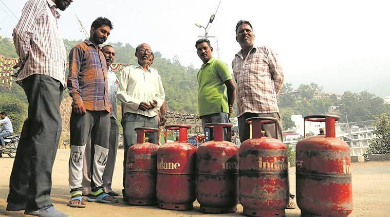 Residents waiting with empty LPG cylinders at Doon constituency in Himachal Pradesh