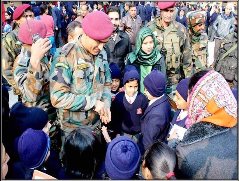 Lt Colonel Mahendra Singh Dhoni visits students in Srinagar - See pics