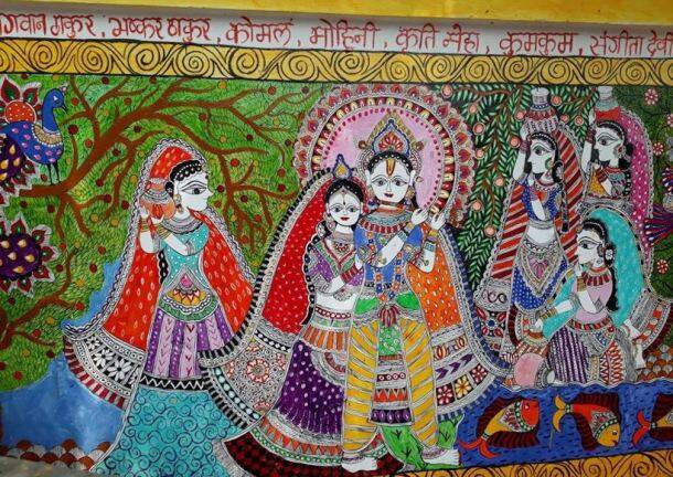 madhubani, madhubani railway station, madhubani paintings, indian railways, railway beautification, mithila artists, madhubani painting rail station, east centrsl railways, drm samastipur, viral photos, madhubani station photos, madhubani art work,