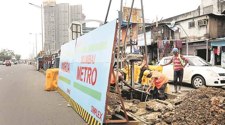 Mumbai Metro, MMRDA, metro 7 construction, Metro 7 contractor, Metro,Simplex, MMRDA, mumbai news, indian express news