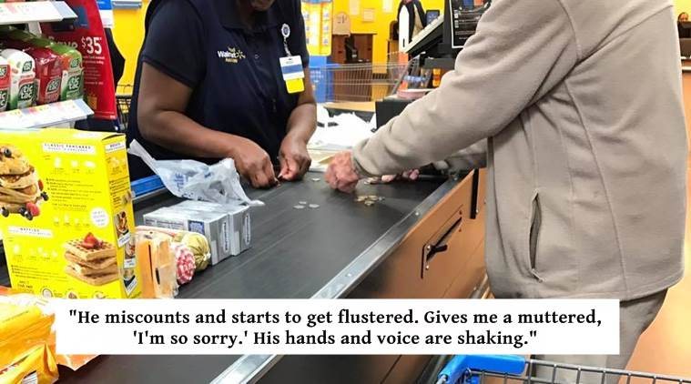 kindness, acts of kindness, kind cashier, cashier helps man, indian express, indian express news
