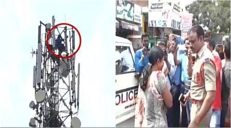 VIDEO: Telangana man recreates Sholay-like scene, climbs tower demanding divorce