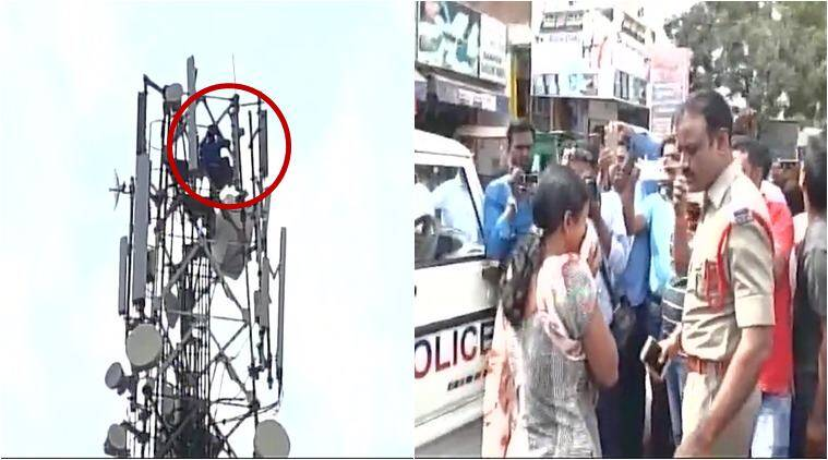 man climbs tower, sholay tower suicide scene, man climbs tower suicide threat, man sholay stunt, man climb tower for divorce, telangana news, bizarre news, weird news, india news, indian express