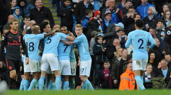 Image result for city 3-1 arsenal celebrate