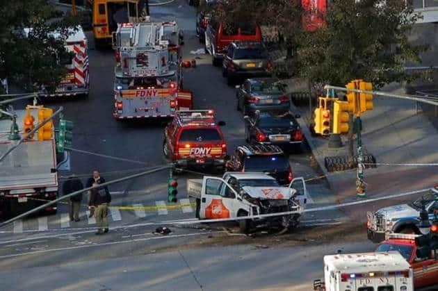 manhattan terror attack, mnhattan attack photos, new york terror attacks, manhattan truck attacks, us terror attack, new york van crash, us shooting, world news, indian express