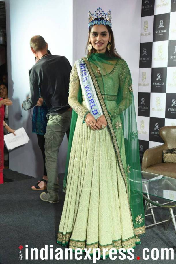 manushi chhillar, manushi chhillar miss world, miss world manushi chhillar, India welcomes manushi chhillar, indian express, indian express news