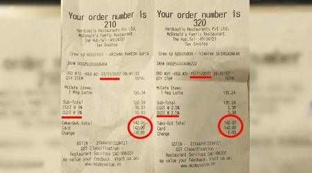 mcdonalds, mcdonald's India, gst, gst on restuarant bill, mcdoanlds post gst tax cut, viral mcdonalds bill, boycott mcdonalds, india news, business news, viral news, indian express