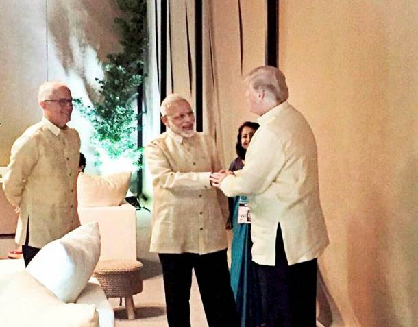 ASEAN summit: PM Modi meets world leaders at gala dinner in Manila, shakes hand with Donald Trump