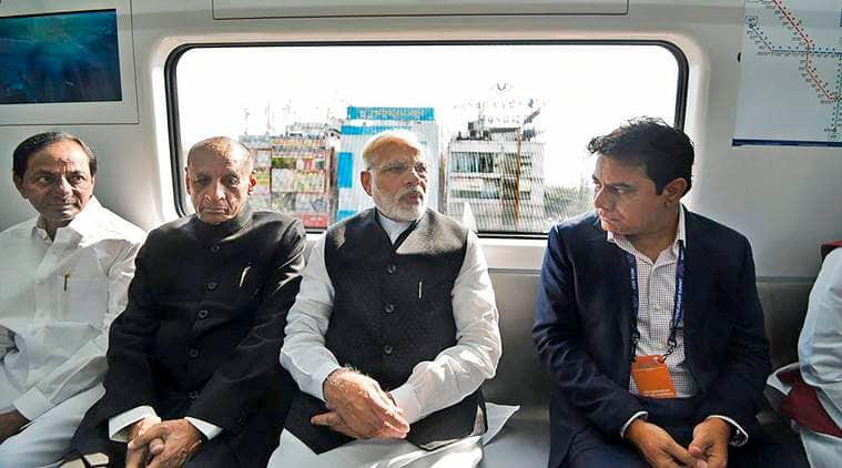 PM Narendra Modi flags off Hyderabad Metro