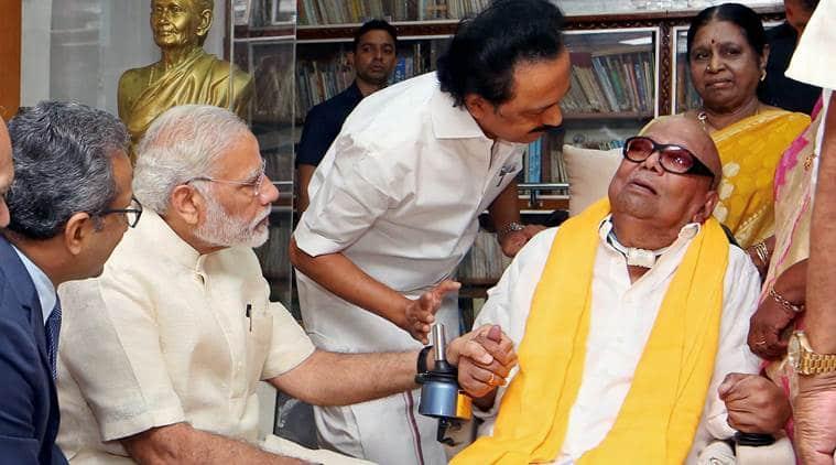 Narendra modi, dmk, karunanidhi, modi meets karunanidhi, mk stalin, tamil nadu, indian express