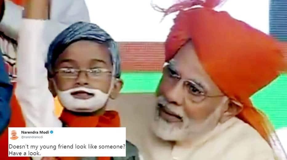 narendra modi, narendra modi young boy lookalike, narendra modi gujarat rally, modi election rally,