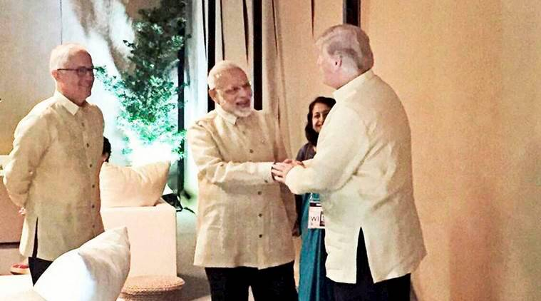 pm modi, donald trump, aseam summit 2017, manila, philippines, indian express