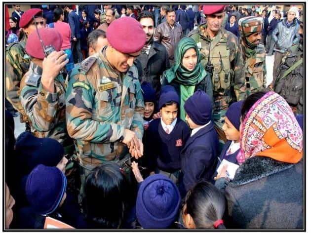 MS Dhoni in APS Srinagar
