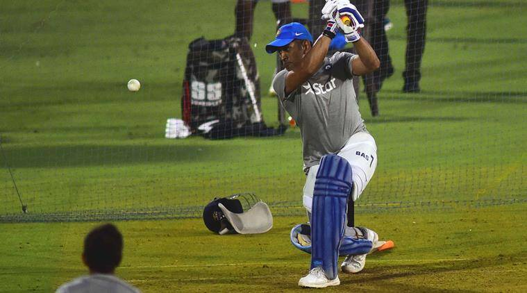 MS Dhoni bats during a training session with India national cricket team