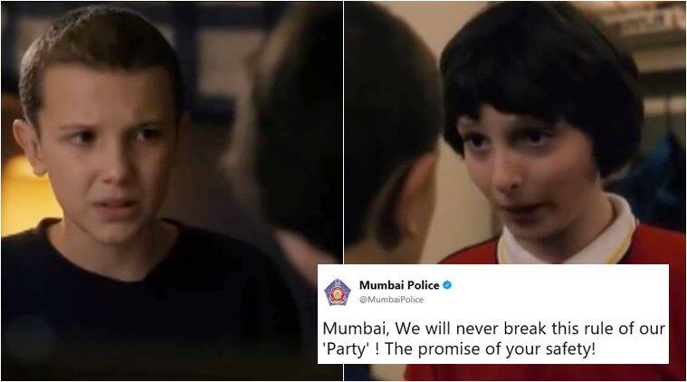 mumbai police, stranger things, stanger things 2, stranger things promise scene, stranger things pure fuel, stanger things mumbai police, mumbai police twitter feed, indian express