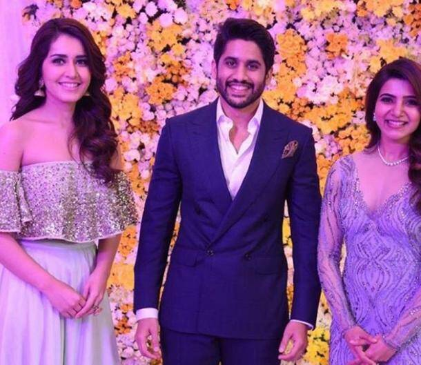 samantha reception, naga chaitanya reception, rashi khanna