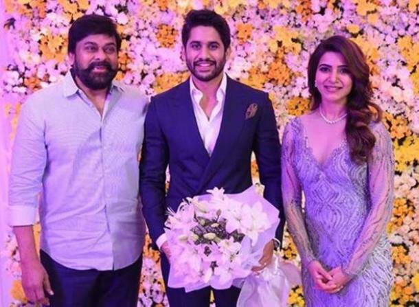 samantha wedding reception, naga chaitanya wedding reception, samantha reception, naga chaitanya reception, chiranjeevi, chaysam hyderabad reception
