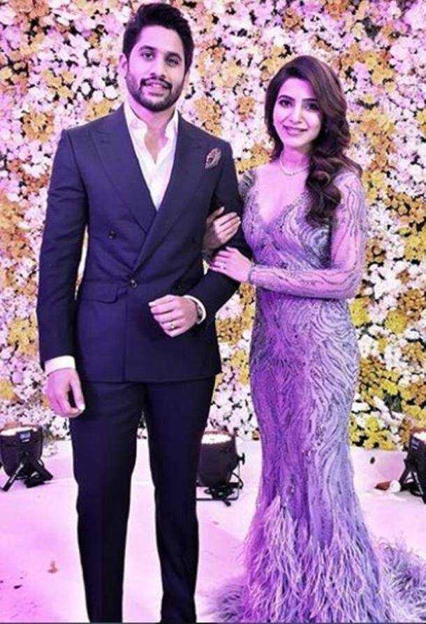 samantha wedding reception, naga chaitanya wedding reception, samantha reception, naga chaitanya reception