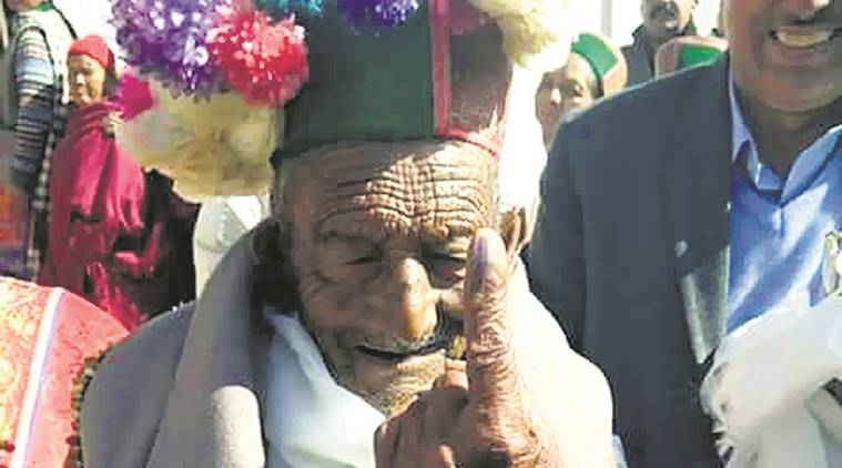 Himachal voter, 100 year old voter, Shyam Saran Negi , Himachal Pradesh assembly polls, Himachal Pradesh elections, Himachal elections, himachal news, india news indian express news
