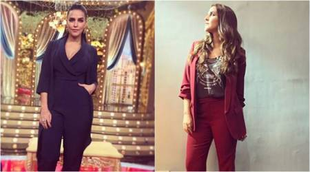 Matching separates are great but Neha Dhupia's pantsuit looks are kind of boring