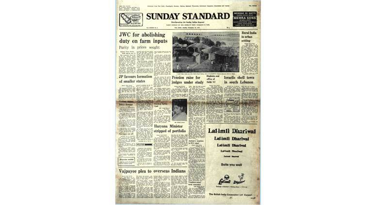 jayaprakash narayan, janata party, farmers, tamil nadu cyclone 1977, november 13 1977 newspaper, old rare indian express newspapers, indian express