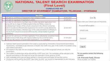 NTSE/ NMMS admit cards 2017: Download at bse.telangana.gov.in.