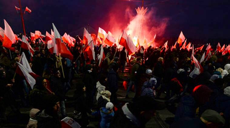 Poland Independence Day, Polish Independence Day, Independence Day, Poland Right Activist Rally, Poland Fascist Rally, Poland, World News, Latest World News, Indian Express, Indian Express News