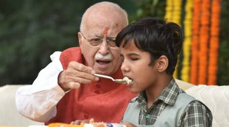 On 90th birthday: L K Advani with family and books