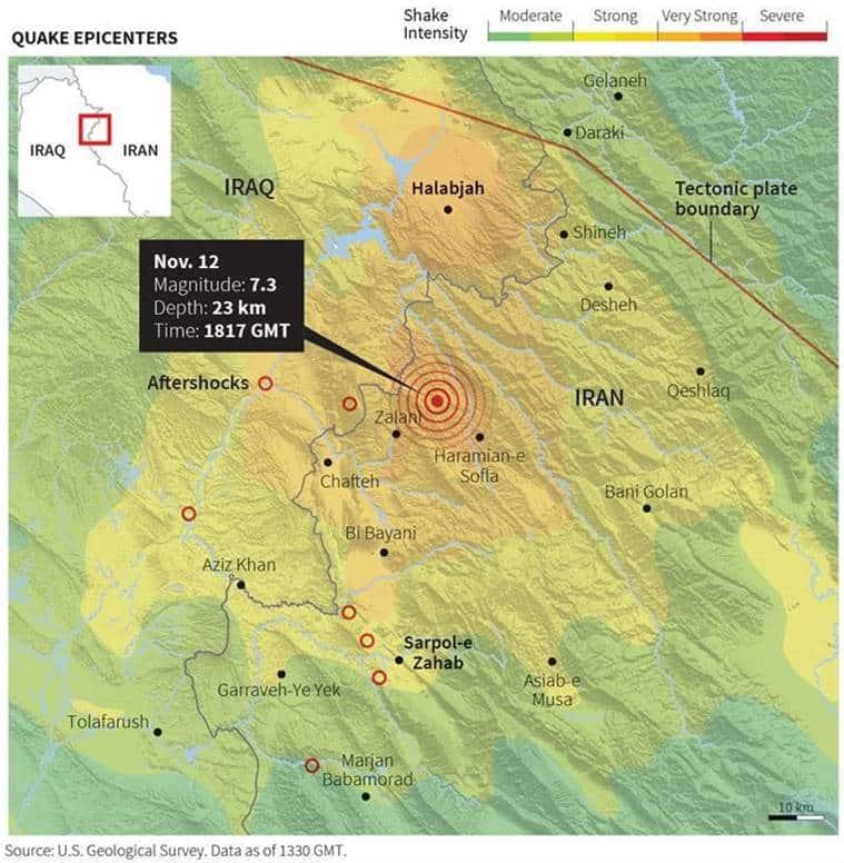 iran iraq earthquake, iran earthquake, iraq earthquake, iran earthquake death toll, iraq earthquake death toll, iraq quake injured, iran quake injured, tehran, kurdistan, baghdad, Qasr-e Shirin, world news, latest news, indian express