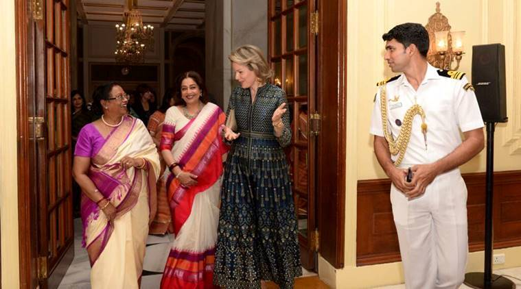 Anita Dongre, Designer Anita Dongre, Queen Mathilde, King Phillipe, Queen Mathilde of Belgium, Queen Mathilde of Belgium visits india, Indian express, Indian express news