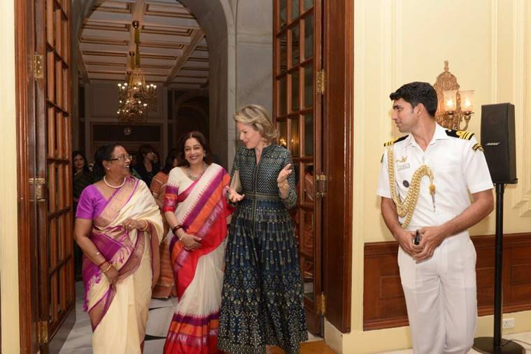 queen Mathilde, belgium queen, blgium queen anita dongre, anita dongre queen Mathilde, royals in anita dongre collection, queen Mathilde anita dongre meeting, fashion news, indian express