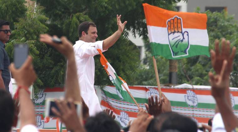 Congress vice-president Rahul Gandhi waves to supporters in Gujarat