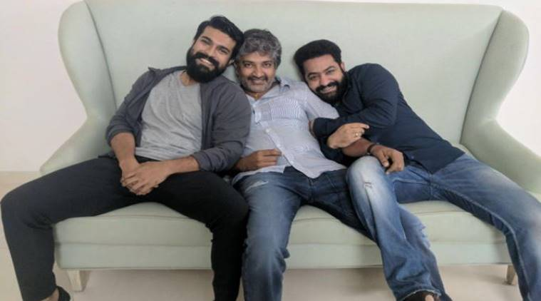 Rajamouli tweeted a photo with Ram Charan and Jr NTR.