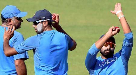 R Ashwin and Mohammed Shami during practice session
