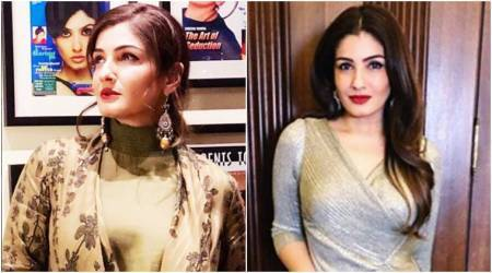 raveena tandon, raveena tandon fashion, anavila misra, ritu kumar, raveena tandon in ritu kumar, raveena tandon in dress, raveena tandon style, raveena tandon news, raveena tandon latest photos, celeb fashion, bollywood fashion, indian express, indian express news