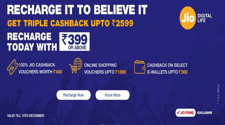 Reliance Jio triple cashback offer expanded till Dec 15