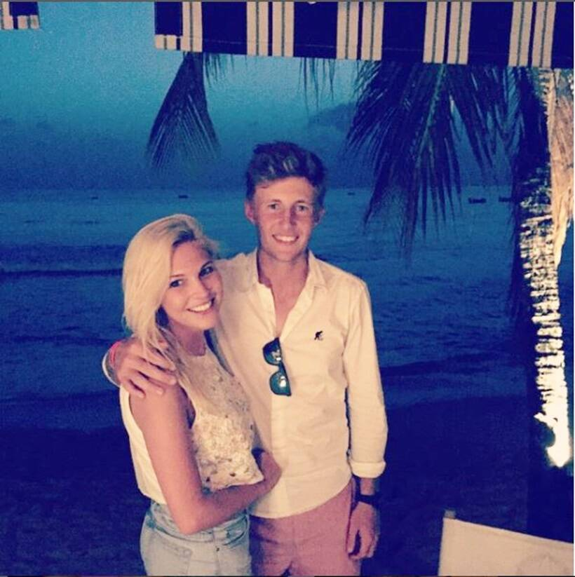 Joe Root with Carrie Cotterell.
