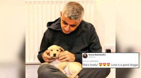 sadiq khan, london mayr, sadiq khan on twitter, sadiq khan dog photo, sadiq khan dog on twitter, indian express, indian express news