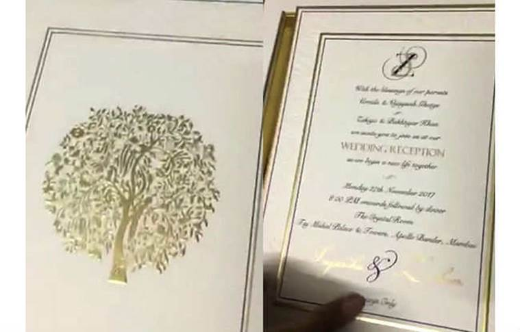 sagarika ghatge zaheer khan wedding card