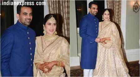 Sagarika Ghatge and Zaheer Khan at their wedding reception