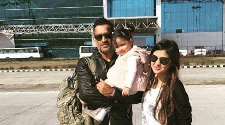 MS Dhoni and Sakshi Dhoni at the Dehrardun Airport