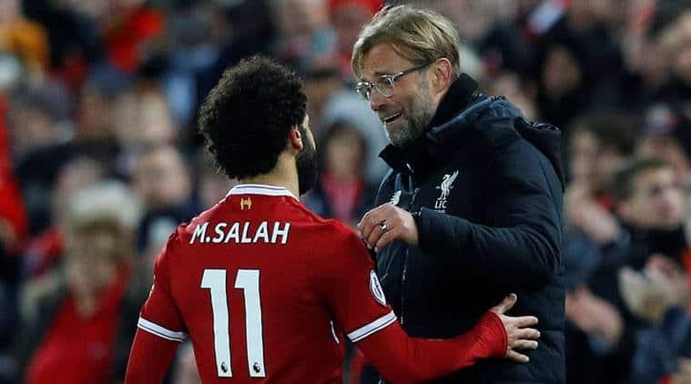Jurgen Klopp with Mohamed Salah during Liverpool's game against Southampton