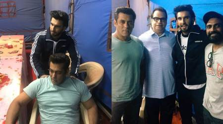salman khan, ranveer singh on the sets of race 3