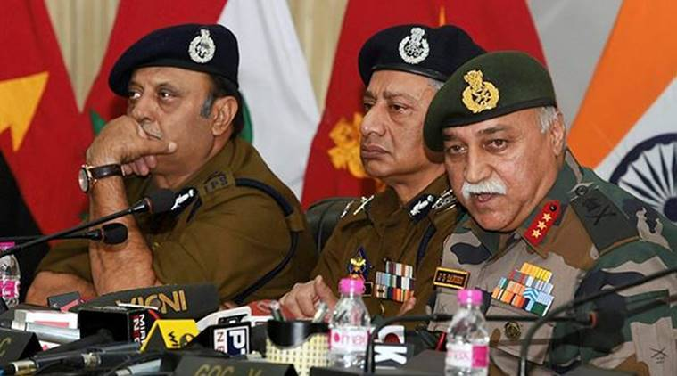 GOC, Srinagar J S Sandhu, Lt Gen J S Sandhu, Dineshwar Sharma, Jammu and Kashmir counter terrorism operation, counter terrorism operation, jammu and kashmir terrorism operation, India News, Indian Express, Indian Express News