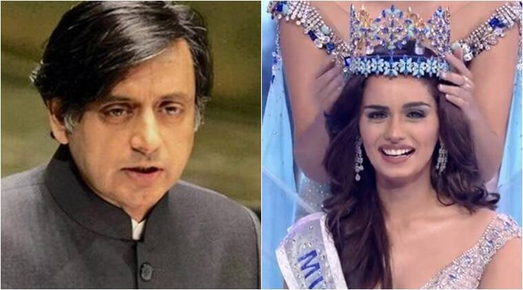 manushi chillar, Miss World 2017, Shashi Tharoor, Manushi Chhillar twitter, shashi tharoor twitter controversy, Manushi Chhillar reply, Miss World 2017, Twitter reactions, Indian express, Indian express news