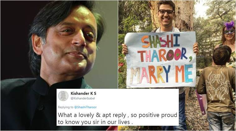 shashi tharoor, shashi tharoor marriage proposal, shashi tharoor delhi pride march, shashi tharoor marriage proposal on twitter, shashi tharoor's response marriage proposal, twitter reactions, indian express, indian express news